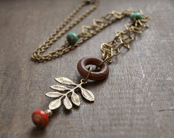 Bohemian Nature Necklace Boho Asymmetrical Necklace Long Boho Necklace Hippie Forest Jewelry Long Leaf Jewelry Turquoise Branch Jewelry