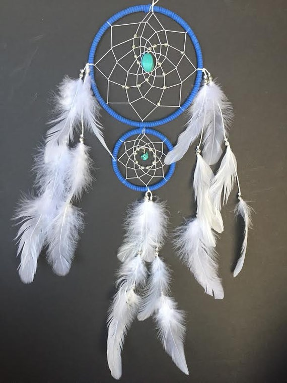 Dream catcher with double rings blue and white with turquoise for How to make a double ring dreamcatcher