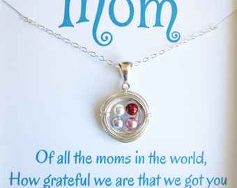 Personalized Mother's Necklace-Silver Bird's Nest Necklace-Mothers Day Gift-Grandmother-Family Necklace