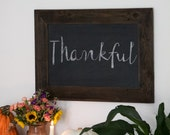 Gift For Her - Reclaimed Wood Framed with Ledge - 28x20 Kitchen Chalkboard - Rustic Modern Decor - Hurd and Honey Chalkboard