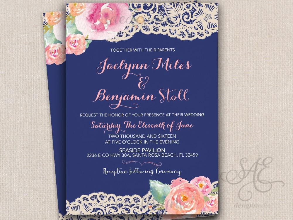Navy And Peach Wedding Invitations: Navy Blush Wedding Invitations Invites RSVP Cards Postcards