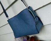 CUSTOM Listing for Jacinda Blue Leather Satchel  Cross Body Bag by Ariom Designs