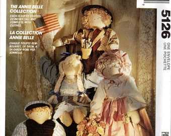 "Rustic Belle Doll  & Clothes Pattern - 23"" tall boy or girl dolls- McCall's Crafts 5126, The Annie Belle Collection, uncut"