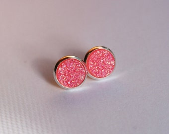 Neon Pink Glitter Faux Druzy Glitter Earrings - Posts/Studs - 10mm MEDIUM (D116)