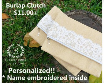 Personalize fold over clutch , rustic bridesmaid gift , burlap bridesmaid gift, rustic clutch, Burlap clutch , burlap wedding, burlap purse