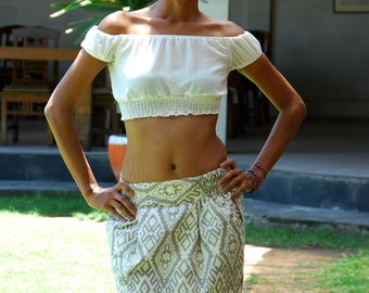 Tribal Mini Skirt / Casual Womens Skirt / Summer Skirt in Grey