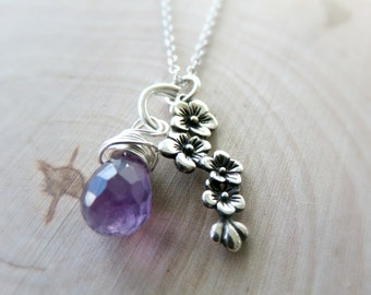 Cascading Flowers Necklace/ Amethyst Necklace/ Sterling Silver Necklace/ Briolette Necklace/ Wire Wrapped Necklace/ Nature Inspired