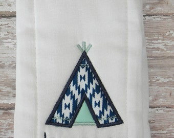 Teepee Embroidered Burp Cloth in Mint & Navy