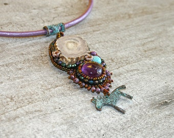 Bead embroidered necklace with deer antler, amethyst, amazonite and horse charm