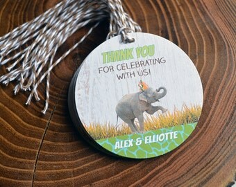 Party Animal Gift Tag, Zoo Party Favor Tags, Safari Baby Shower, Personalized Gift Tags, Party Favors, Elephant Thank You Tag, Party Hat Tag