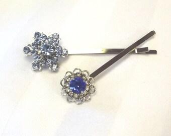 Rhinestone Flower Bobby Pins - Vintage Hair Accessory - Jewelry Hair Picks - Fashion Hair Pins