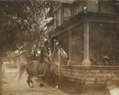 Headstrong - Antique 1910s Silver Gelatin Print Equestrian and Dappled Grey Horse Real Photo Postcard