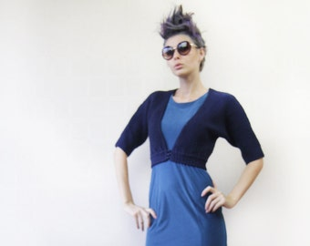 Vintage navy blue knit elbow sleeve crop bolero sweater top