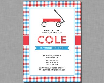 Red Wagon Birthday Invitations little red wagon MB62 Digital or Printed