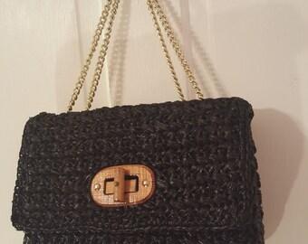 BLACK RAFFIA JAPAN Purse // Vintage Double Gold Chain Straps Wood Twist Clasp 60's Twiggy 70's Shoulder Bag Convertible