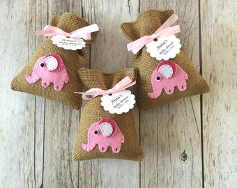 10 pink elephant baby shower burlap favor bags, baby girl