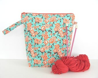 Knitting Bag Crochet Project Bag, Zippered Wedge Bag - Camellia by Amy Butler in Coral and Aqua Gift for Knitter