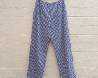1960s Lanz Original Gingham Pants.  Blue and White.  Lined.