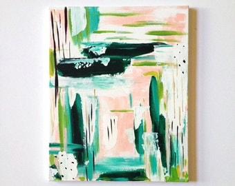 16 x 20 Original Painting on Canvas / OOAK / Modern Art / Pastel colors/ Teal  Green Pink White / Abstract Art / kids room was decor office