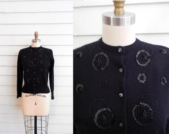 1960s black cardigan with beading and sequins / Extra Small to Small vintage ladies crew neck sweater