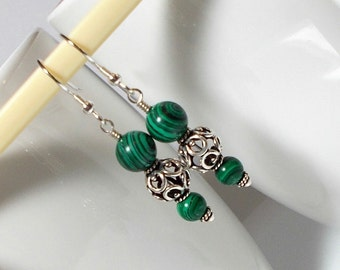 Green And Black Melakite Stone With Sterling Silver Dangle Earring Green Stone Earring Sterling Silver Earring