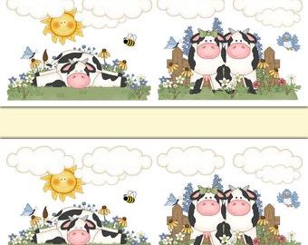 COW WALLPAPER BORDER Decals Wall Art Girl Farm Animal Nursery Stickers Room  Decor   Kids Barnyard
