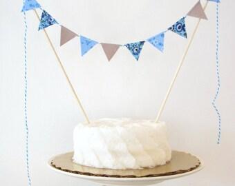 "Light Blue & Grey Cake Topper - Fabric Cake Bunting - Wedding, Birthday Party, Shower Decoration - ""Raindrop"" floral, baby, elephant theme"