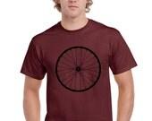 Mens Bike Shirt. Bike Wheel Tshirt. Bicycle Wheel. Bike T Shirt.  Men. Burgundy. Maroon. Hand Screen Printed