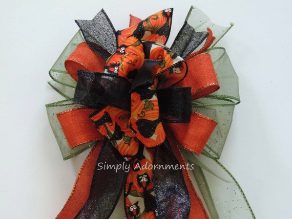 Funky Halloween Wreath Bow Halloween Black Cat Lantern Bow Halloween Wreath Bow Halloween Black Cat Wreath Bow Halloween Door Hanger Bow