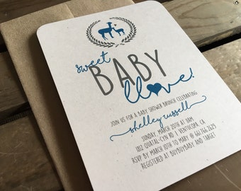 Llama Baby Shower Invitation - Sweet Baby Llove - CUSTOM - Girl - Boy - Gender Neutral - Wreath - Recycled - Eco Friendly - Digital File