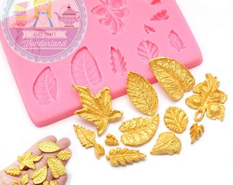 Leaf Leavies Set Mold 773m Cupcake Topper Fondant Gumpaste Polymer Clay fimo Cookie Topping Chocolate Melts Flexible Mold BEST QUALITY