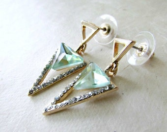 Gold Triangle Earrings with Green and Diamond Crystals. Post Dangle Earrings with Triple Triangle Geometric Design. Contemporary Jewelry.