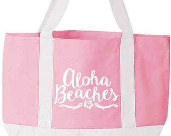 Aloha Beaches Boat Tote Summer Beach Bag With Side Slip Pocket in Pink / White
