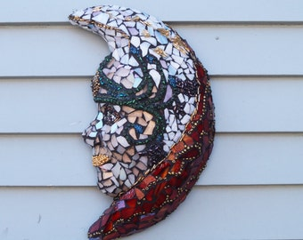 Lady Glass Mask, Goddess Mosaic, Garden Mosaic, Patio Decor, Home Decor, Egyptian Goddess Wall Hanging, Greek Goddess Mask, Mythical Mask