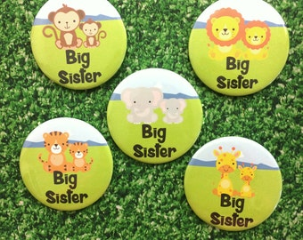 Big Sister Badge - Big Sister Pin - Animal Badge - Big Sister Gift - Sister Announcement - Baby shower - Pin Badge - Sister Gift - New Baby
