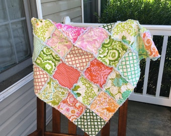 Baby Rag Quilt- Ready to ship Rag Quilt, pink rag quilt, green rag quilt, baby shower gift, baby girl rag quilt, one of a kind rag quilt