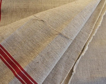"Roll of Hemp Linen Unused, Chanvre Antique French - Vintage linen - Red stripes and ecru -  Hemp fabric  ""PRICE For 1 METER"""