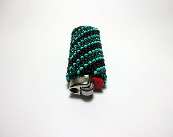 Teal Lighter Cover. Turquoise Beaded Lighter Case. Custom Lighter. Bic. Emerald. Black and Teal. Reusable Case. Stripes. Perfect Gift.