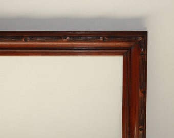 Rustic Adirondack, Hand Carved, Excellent!, Vintage Solid Walnut, Picture Frame, Original Patina, Ready to Use, c.1910