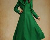 Dark Green Wool Maxi Coat, Cashmere Coat, Long Wool Jacket, Wool Winter Coat in Black, Grey, Military Coat, Wool Blazer, plus size coat
