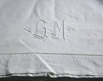 vintage linen sheet  ,GM monogrammed , french pure linen