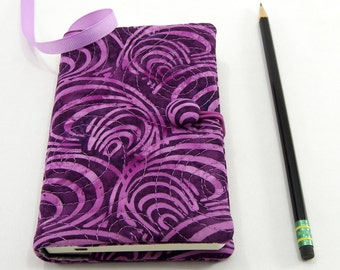 Purple Pocket Journal Cover, Small Moleskine Cover, Pocket Notebook 3.5 x 5.5 inch, Journal Slipcover - Purple Scallops Batik Notebook Cover