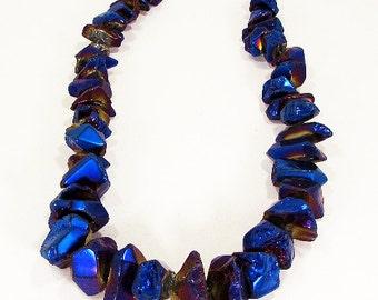 Titanium Metallic Royal Blue Smooth Tumbled Coated Graduating Quartz Point Nugget  Beads 18mm -39mm
