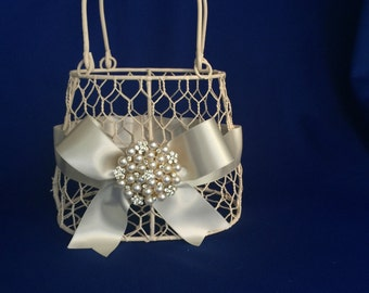 ivory  flower girl basket purse with ivory ribbon and  pearl brooch purse basket for junior bridesmaid
