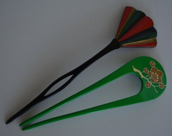 Kanzashi hair pins, two Japanese hair ornaments