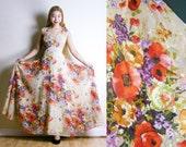 Vintage 1970s Floral Maxi Dress - Poppy Print - Colourful Sleeveless Spring Summer Dress (medium)