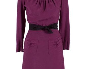 1940s Style Dress -purple viscose and black polka dot net fabrics Retro Dress - Marlene 40s Reproduction Dress
