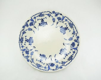 "Vintage Dinner Plate, Sterling China 10"" Plate, Lamberton Potteries, Hotel Restaurant Dinnerware, Blue White Floral Dish, Cottage Decor"