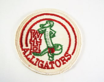 Vintage Embroidered Patch, WH Alligators Patch, White Patch, Red, Green Embroidery, Sew On Patch, Bowling Shirt Patch, Gator Mascot Patch