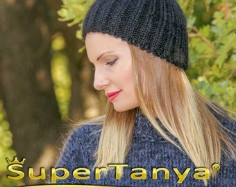 SUPERTANYA black mohair beanie fuzzy warm hand knitted hat